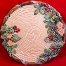 Vintage Majolica Fruit & Flowers Basketweave Plate Blackberries c.1988, fm793