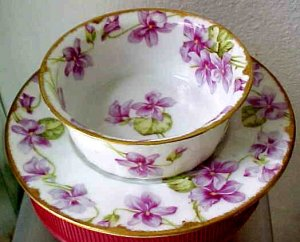 Antique Limoges Bawo & Dotter Porcelain Ice Cream Ramekin & Underplate c.1900-1914, L166