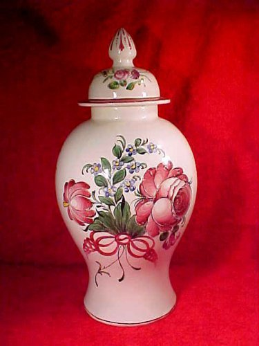 Rare Antique French Les Islettes Faience Lidded Vase Urn Hand Painted c.1780-1850, ff273