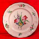 Vintage Luneville Double Tulips Plate w Grey Border, LUN11