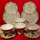 Vintage Set of 4 Czech Snack Sets Lusterware Roses c.1918, p160
