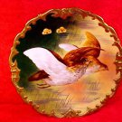 Antique Hand Painted Limoges Game Bird Wall Plate by Known Artist, L216