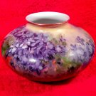 Antique Austrian Hand Painted Squat Vase Violets c.1890-1909, p169