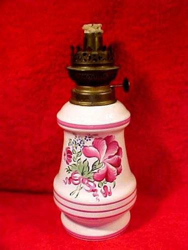 Vintage French Faience Flowers Oil Lamp Hand Painted Luminaire, ff276