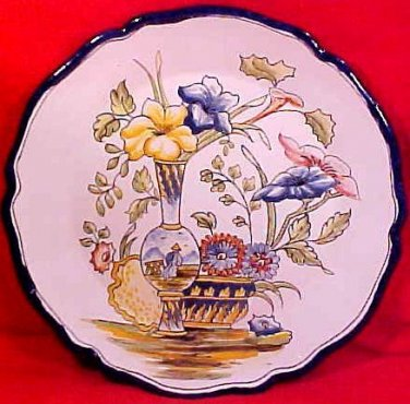 Vintage French Desvres n. Quimper Nevers A. Montaignon Faience Wall Plate, fm800