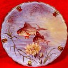 Antique Hand Painted Known Limoges Artist Underwater Scene Fish Plate, L211