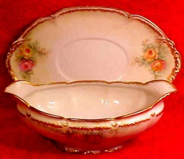 Antique Haviland Limoges Hand Painted Roses Gravy Sauce Boat & Matching Underplate, L175
