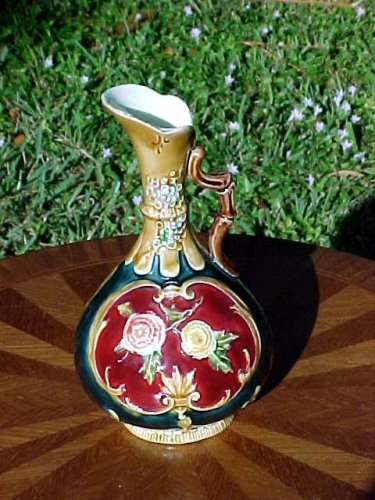 Antique Austrian Majolica Handled Vase, Urn, Planter c.1850's-1880's, gm760