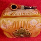 Antique Austrian Pipe Art Nouveau Flowers Tobacco Jar Humidor c.1850-1910, gm756