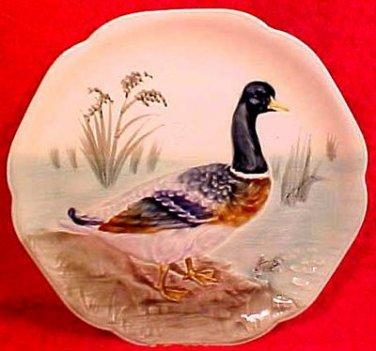 Antique Majolica Duck Plate Choisy-le-roi France c.1860-1910, fm594