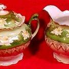 Antique Austria Fine Porcelain Sugar Creamer Water Lily, Lilies, p30