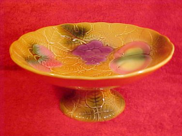 Vintage French Salins-les Bains Majolica Footed Fruit Compote Pedistal Dish, fm646