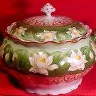 Antiue Austria Fine Porcelain Lily, WWater Lilies Cracker Jar, pc40