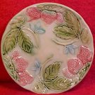 Antique French Majolica Light Pink Strawberries Plate, fm819