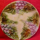 Antique French Majolica 3 Bunches of Grapes & Leaves Plate, fm821