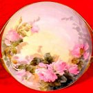 Antique Hand Painted Roses Haviland Limoges Pierced Handled Platter, L212