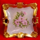 Antique Victorian Hand Painted Heavy Gold w/ Flowers Handled Platter Signed, p115