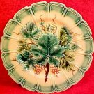 Antique German Sarreguemines Majolica Green Rim Grapes & Leaves Plate, gm625