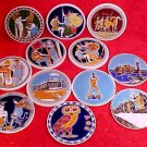 Vintage Set of 11 +1 Greek Majolica Wine Coasters, fm771
