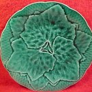 Antique French Gien Majolica Plate w/ Leaves, fm476