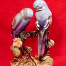 Antique Vintage Majolica Blue Parakeets Lovebirds Buggies Figurine, gm360