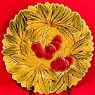 Antique Cherries and Leaves Majolica Plate, fm464