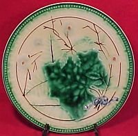 Antique Majolica Greek Key & Flower Plate, gm496