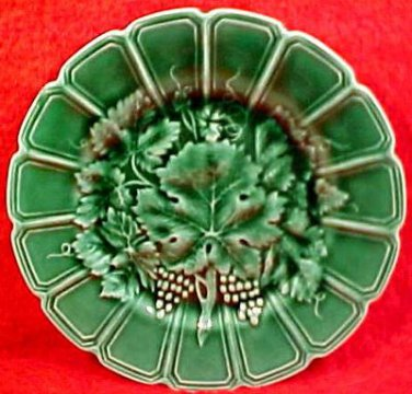 Antique French Sarreguemines Grapes & Leaves Monochrome Plate, fm312