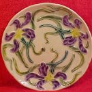 Beautiful Vintage French Majolica Iris Flowers Plate, fm468