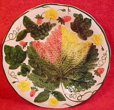 Vintage German Majolica Strawberries & Leaf Plate c.1950's, gm489, gm490