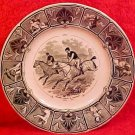 Antique Sarreguemines Faience  April Calendar Plate Steeple Chase c.1856, ff223
