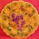 Beautiful French Sarreguemines Majolica Grapes & Leaves Plate, fm431