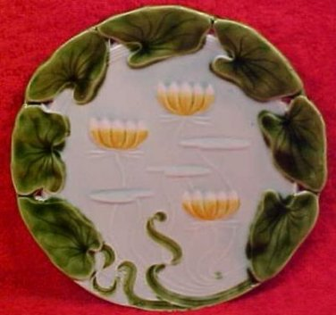 Antique Art Nouveau Majolica Water Lily Plate V&B, gm604