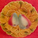 Antique Pesrs & Leaves Fruit Majoica Plate, fm438
