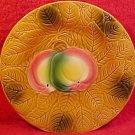 Antique Salins-les-Bains Majolica Apples & Leaves Plate, fm437