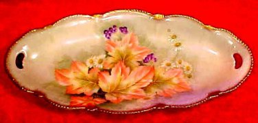 Antique German Porcelain Autumn Leaves, Flowers Relish Tray c.1903, p165