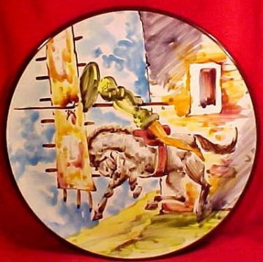 Large Vintage Spannish Faience Majolica Wall Plaque Platter, im41