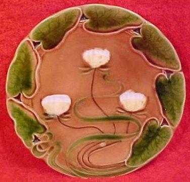 Antique Art Nouveau Majolica Water Lily Plate V&B, gm586