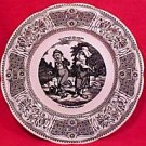 "Vintage Gien France Faience ""Speaking"" Vignettes Plate, fm528"