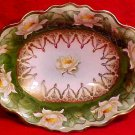 Antique Austrian Hand Painted Water Lilies Oval Bowl c.1909, p35