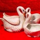 Antique Vintage French Porcelain Swans Open Salt Pepper Lidded Condiment Jar, p149