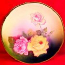 Antique German Hand Painted Porcelain Roses Cabinet Plate c.1838-1927 Bavaria, p80