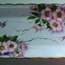 Antique Handpainted Light Blue Porcelain Dresser Tray Platter Butterflies, Flowers, p96