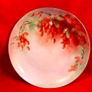 Antique Handpainted GDA Limoges Red Currents Plate Signed by Artist, L127