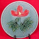 Antique Germa Majolica Hibiscus Blue & Red Plate Zell c.1907-1928, gm376