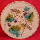 "Antique German Majolica White Plate Zell Birds Grapes 7.5"", gm748"