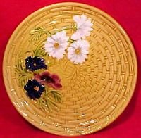 Antique German Majoica Basketweave & Flowers Plate SMF, gm552