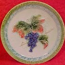 "Antique German Majolica Grapes Leaves 6"" Plate c.1918, gm477"