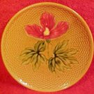Antique German Majolica Hibiscus Plate Zell, gm335