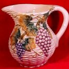 Antique italian Majolica Grapes & Leaves Pitcher, im32